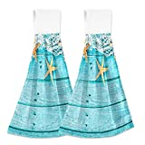 Bonito Fondo náutico Azul Turquesa Decorado con Toallas de Mano de Cocina para Colgar, Paquete de 2, paños para Platos, Toallas para Platos, absorbentes Suaves, duraderos, para el baño, para Las yema