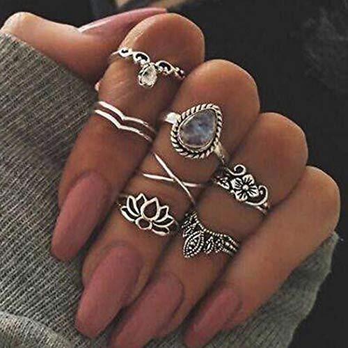 Yean Wassertropfen Ring Set Kristall Blume V Joint Knuckle Ringe Vintage Silber für Frauen und Mädchen
