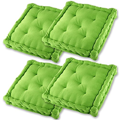 Gräfenstayn® 4er-Set Sitzkissen Stuhlkissen 40x40x8cm für Indoor und Outdoor aus 100% Baumwolle Dicke Polsterung Steppkissen/Bodenkissen (Apfelgrün)