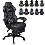 ELECWISH Racing Video Gaming Chair High Back Large Size Ergonomic Adjustable Swivel Reclining Executive Computer Gaming Chair with Headrest and Lumbar Support PU Leather Executive Office Chair Black