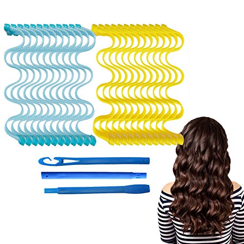 Hamnor 24 PCS Hair Rollers 21.6 inch Wave Style No Heat Hair Rollers for Long Hair Easy Operate