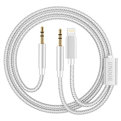 AUX Cord for i Phone XR, UNOOE AUX Cord for i Phone 8 i Phone 7 i Phone X AUX Cord in Car Stereo 3.5mm Audio AUX Cable Adapter [Braided 2 in 1] for i Phone XS MAX i Pad i Pod(Silver)