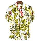 GBEN Camisa de lino para hombre, estilo vintage étnico Henley, manga corta, verano, informal, hawaiana, manga corta