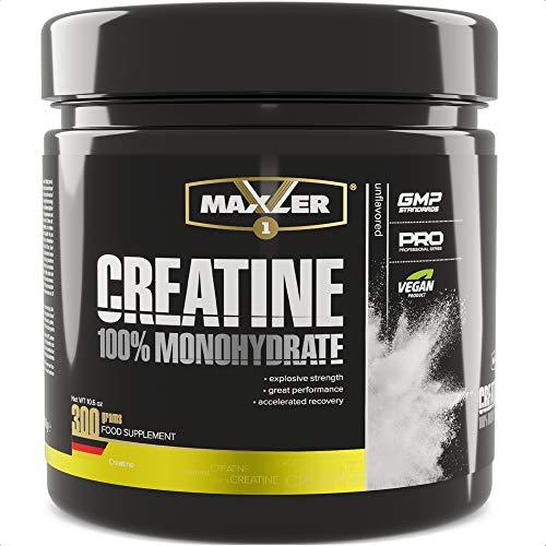 Maxler Creatin Monohydrat 300 g Dose - Vegan Nahrungsergänzung für Kraft Training - Creatin Pulver für Gewicht zunehmen, Wiederherstellung und Muskelaufbau - Neutraler Geschmack - 100 Creatin Portionen