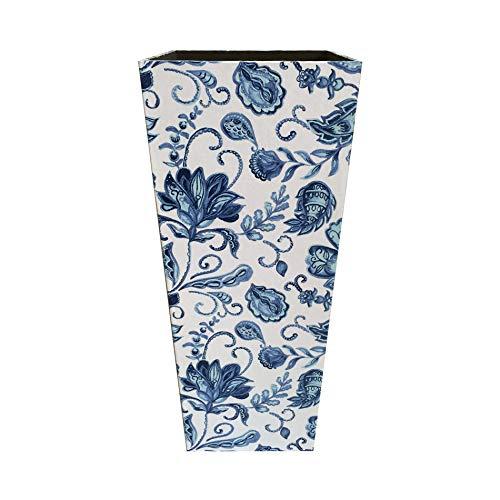Rebecca Mobili Soporte de Paraguas Vintage, paragüero para Pasillo y Entrada, MDF Lienzo, Azul Blanco- Medidas: 50 x 21 x 21 cm (AxANxF) - Art. RE6279