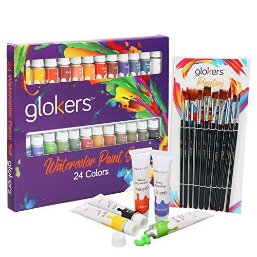 Premium Watercolor Paint Set by Glokers - Arts and Crafts Supplies Include 24 Paint Tubes/Colors + 10 Professional Paint Brushes. Painting Art Kit for Adults, Beginners, or Advanced Students
