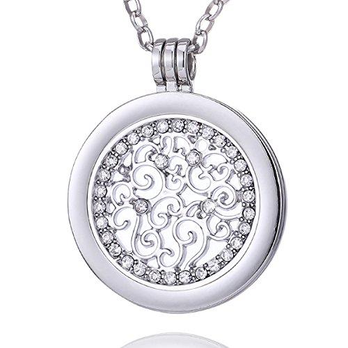 Morella Damen Halskette 70 cm Edelstahl mit Amulett und Coin 33 mm Zirkonia Ornament Silber im Schmuckbeutel