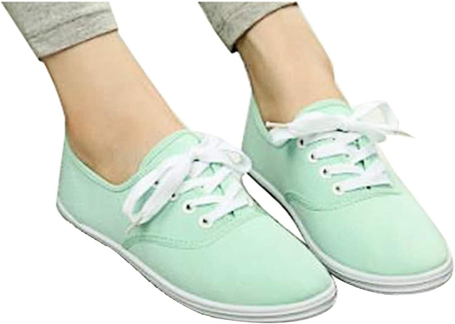 York Zhu Woman Flats White shoes Lace up Casual Canvas shoes Candy color shoes