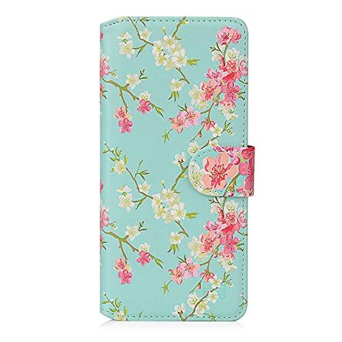 32nd Blumen Series 2.0 - PU Leder-Mappen-Hülle Hülle Cover für Samsung Galaxy S20 FE 5G (Fan Edition), Blumendesign hüllen Mit Kartensteckplatz & Magnetverschluss - Frühlings-Blau