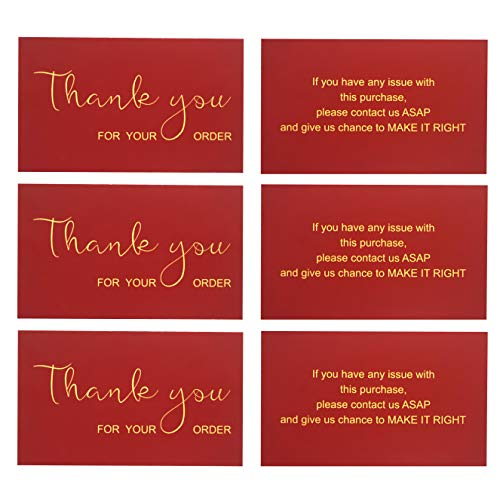 RXBC2011 Thank You for Your Purchase Cards Package Insert for online business E-commerce Pack of 100, Wine Red