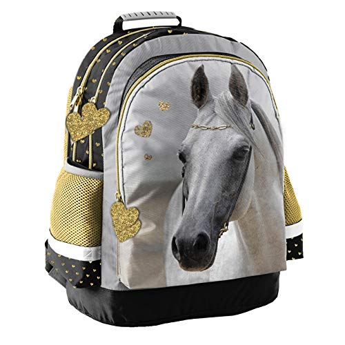 Kinder Rucksack 42x29x17 cm - Motiv Pferd - Gold, Weiss, SCHWARZ