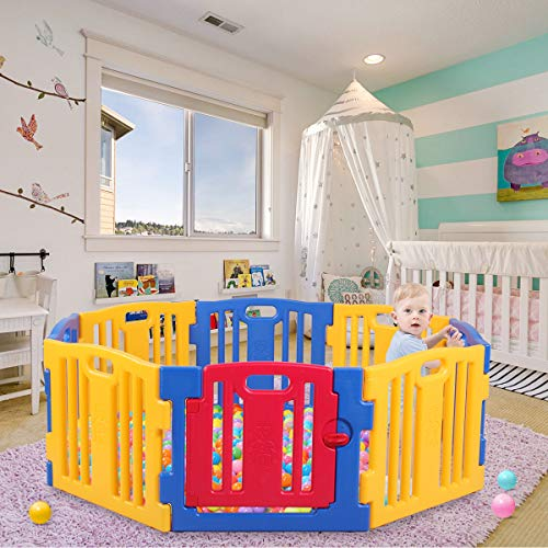 JAXPETY Baby Playpen 8-Panel Kids Safety Play Center Yard Home Indoor Outdoor Fence (Yellow, Blue and Red)