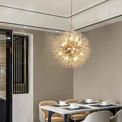 HLL Novedad Lámpara de techo, moderna lámpara colgante de cristal con forma de diente de león, lámpara colgante para sala de estar, comedor, decoración del hogar, Wf-P12, acabado dorado, redondo D40C