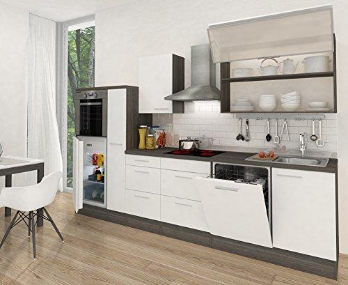 respekta Premium RP310HEW - Cucina lineare, Lunghezza: 310 cm, Colore: Grigio-Quercia/Bianco