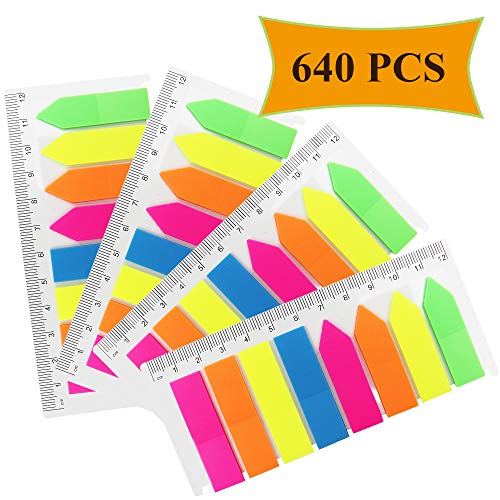 Munpor 4 Sets Neon Page Markers Translucent Page Flags Fluorescent Colored Index Tabs Sticky Notes Tabs with 12cm Measurement for Page Marker