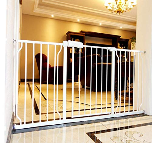 ALLAIBB Walk Through Baby Gate  Auto Close Tension White Metal  Child Pet Safety Gates with Pressure Mount for Stairs,Doorways and Baniste 66.9-71.7 in