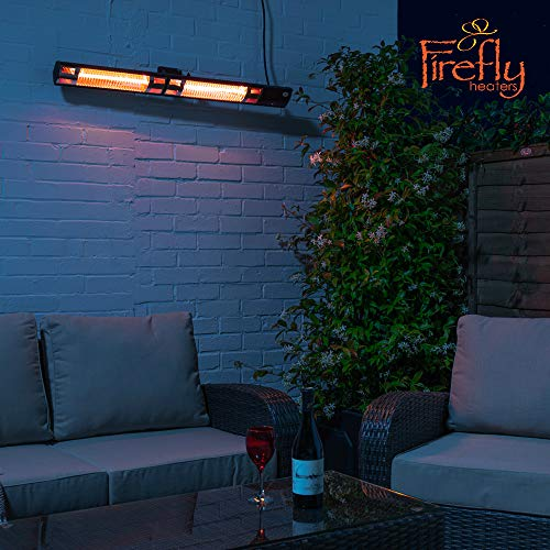 Primrose Firefly Dual 3kW IP44 Electric Infrared Halogen Bulb Patio Heater with Weatherproof Remote Control (Black)