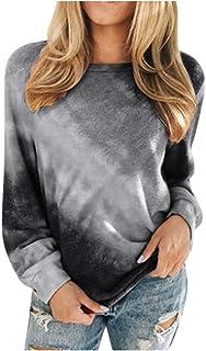 Tie-dye sweatshirt voor dames, gestreept, kleurverloop, print, ronde hals, modieus, casual, lange mouwen, T-shirt, kleuren...