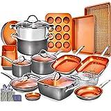 Home Hero Copper Pots and Pans Set -23pc Copper Cookware Set Copper Pan Set Ceramic Cookware Set...