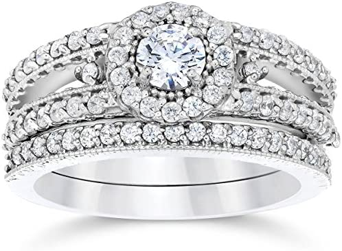 1 Carat Vintage Halo Diamond Engagement Wedding Ring Set 14K White Gold Size 8 5 product image