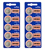 Murata CR1632 Battery 3V Lithium Coin Cell - Replaces Sony CR1632 (10 Batteries)