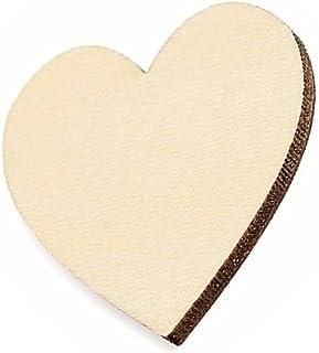 formas de artesanía en Blanco 5cm X 20 Corazones de madera
