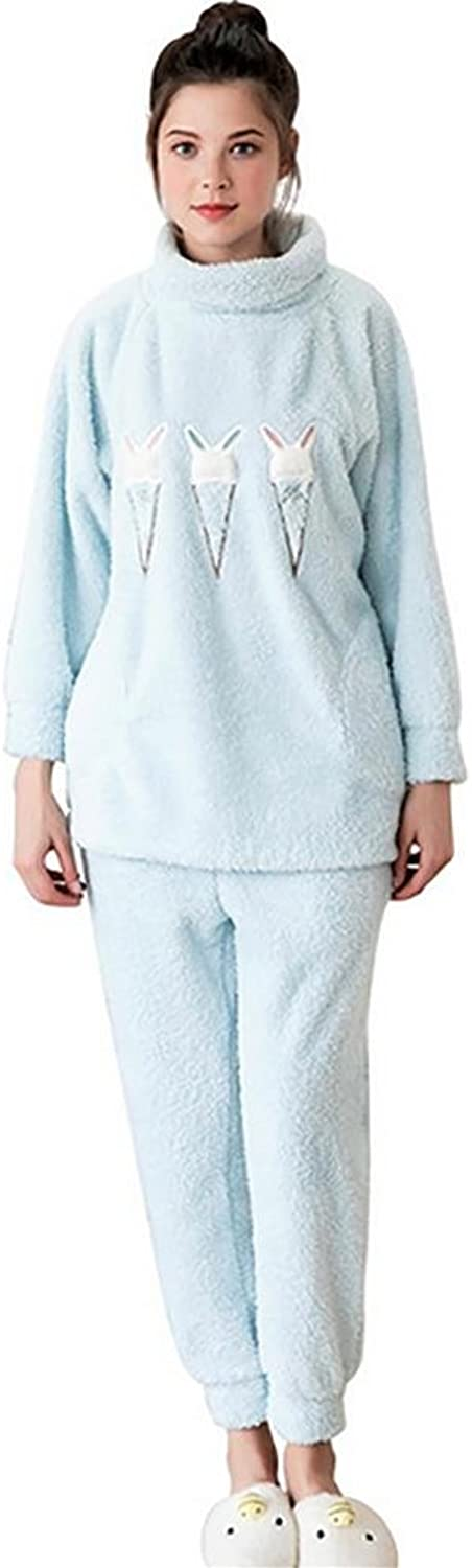 Y&P Women'S Pyjama Winter Cute Thickening Long Sleeve Sweet Thermal Home Suit , bluee , XL