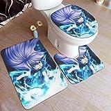 CrazyCoolArt Fairy Tail Wendy Marvell - Juego de 3 alfombrillas de baño (almohadillas antideslizantes suaves, juego de cubiertas en forma de O, 50 x 80 cm)