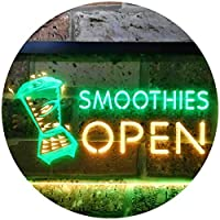 Smoothies Open Shop Dual Color LED看板 ネオンプレート サイン 標識 緑色 + 黄色 300 x 210mm st6s32-i0264-gy