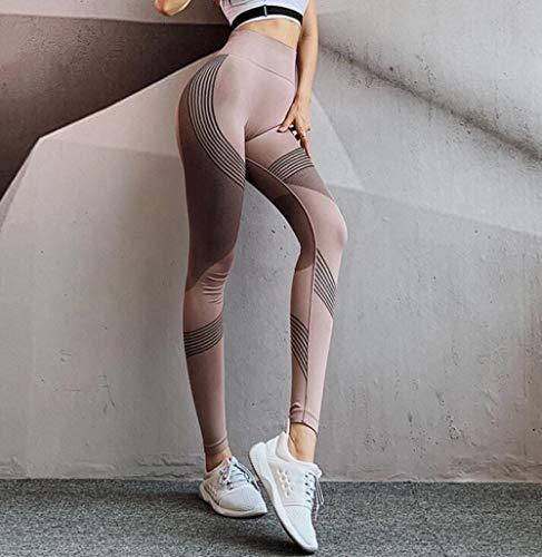 LYWZX Leggings De Yoga para Mujeres Leggings Sin Costuras De Cintura Alta Leggins Push Up Deporte Mujer Fitness Running Pantalones De Yoga Energy Leggings Sin Costuras Gym Girl Leggins-Brown_L