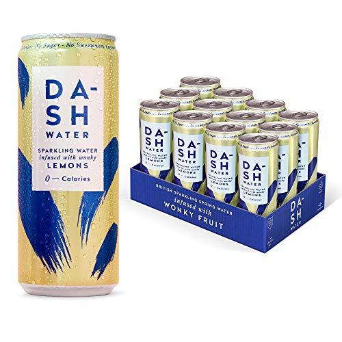 Dash Water - Natürliches, kohlensäurehaltiges Wasser mit Fruchtgeschmack - Zuckerfrei. Ohne weitere Zusätze oder Süßungsmittel. Aus unförmigen Früchten (Zitrone 330ml x 12er Pack)
