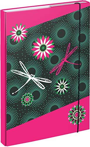 Heftbox für Schulranzen A4 - Sammelmappe für Kinder mit Gummiband und Innenklappen - Heftmappe, Sammelbox mit Gummizug für Mädchen (Blumen)