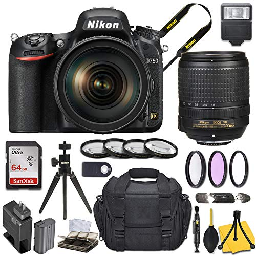 Nikon D750 DSLR Camera with AF-S DX NIKKOR 18-140mm f/3.5-5.6G ED VR Lens + Basic Travel Kit