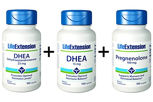 Life Extension, DHEA 15 MG 100 Capsules + Pregnenolone 100 mg, 100 Capsules + DHEA 25mg, 100 Capsules
