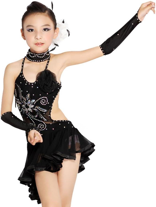 Byjia Girls Mesh Diamond Black Yellow Latin Dance Dress