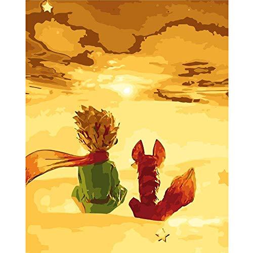 Dipingere con i Numeri 40 x 50cm Cornice di Legno Pittura su Tela per Adulti e Bambini con Colori Acrilici e 3 spazzole (Senza Telaio) (Piccolo Principe)
