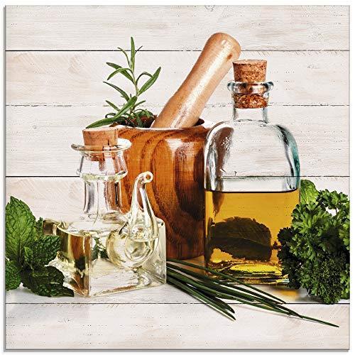 Artland Glasbilder Wandbild Glas Bild einteilig 30x30 cm Quadratisch Stillleben Olivenöl Kräuter Gewürze Küche Mediterran Holzoptik T5MO