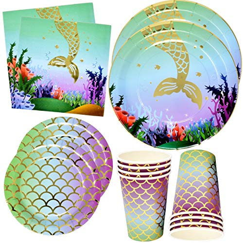 """Mermaid Party Supplies Set 24 9"""" Plates 24 7"""" Plate 24 9 Oz Cups 50 Lunch Napkins Birthday Paper Decorations Elegant Gold Foil Wishful Mermaid Theme Princess Girl Party Tableware by Git Boutique"""