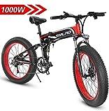 """Shengmilo Elektrisches Mountainbike, elektrisches Fahrrad, 1000W, 48V Batterie 13Ah 624Wh, 26"""" (Rot)"""