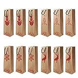 12 pièces Sacs-cadeaux pour le vin Sac Cadeau Bouteille Pochette Cadeau Bouteille Sacs à vin de Noël Sac en papier champagne Porte-sac cadeau bouteille de vin avec poignée pour la célébration