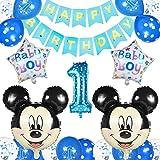 Globos Cumpleaños 1 año, Decoraciones de Cumpleaños de Mickey Mouse, 1er Cumpleaños Bebe Azul Globos Decoraciones de Fiesta Temática Azul de Mickey Globos de Confeti de Latex Boy