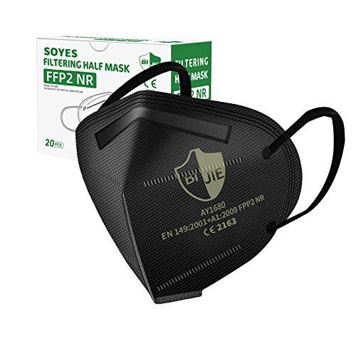 SOYES FFP2 Maske CE Zertifiziert, Atemschutzmaske - 20 Stück, Mehrschichtige Staubschutzmaske für Erwachsene Mund-und Nasenschutz(schwarz)