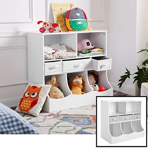 peelgoed Kast / Boekenkast voor kinderen met 8 vakken - Opbergkast van hout voor kinderkamer - Voor opbergen van speelgoed, knuffels, boekjes etc. - Kinderkamer Boekenrek / open opberg kast in wit - Decopatent