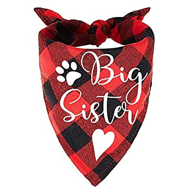 easycozy Red Plaid Big Sister Pregnancy Announcement Dog Bandana, Gender Reveal Photo Prop Pet Scarf Decorations Accessories, Pet Scarves Dog Lovers Owner Gift