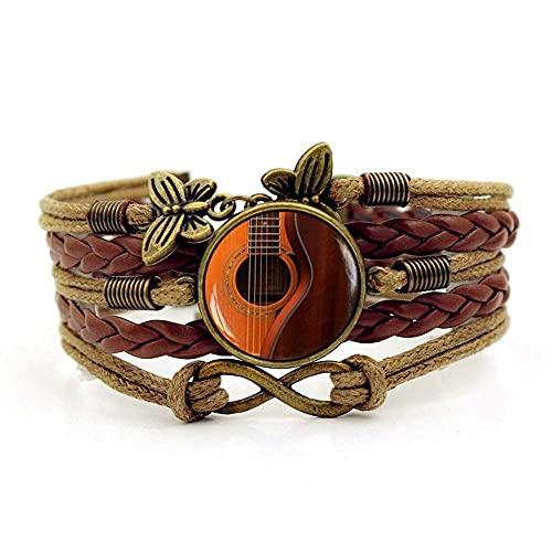 Pulsera tejida, Moda de cuerda marrón Hermosa música guitarra, Tiempo Pulsera de piedras preciosas Multi-capa Mano tejida de cristal Joyería de la joyería de las señoras de la moda de la joyería de es