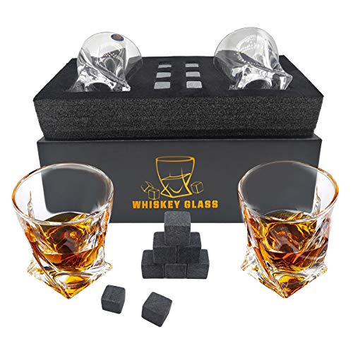 Whiskey Stones Gift Set - 2 Whiskey Glass and 6 Granite Whiskey Stones for Whiskey Lovers Best Gift (grey)