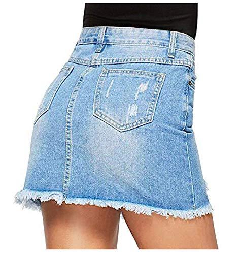 Avondii Damen Denim Rock A-Linie Kurz Jeansrock mit Taschen und Destroyed-Look, Blau, S