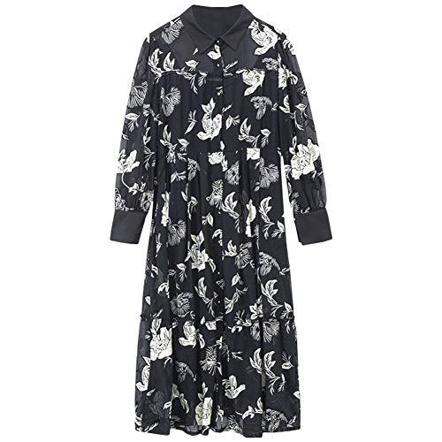 BINGQZ Cocktail Jurken Zijde jurk met lange mouwen vrouwen socialite vroege lente bloemenjurk zijde zijde geborduurde jurk