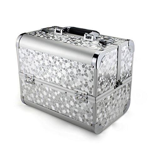 Glow Beauty Case/Maletín para cosméticos/Estuches de maquillaje/Estuche organizador de Cosméticos, Silver