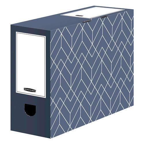 Bankers Box Juego de 5 cajas archivadoras A4 Décor para oficina y hogar, 100 mm de ancho, 100% cartón ondulado reciclado, color azul pizarra